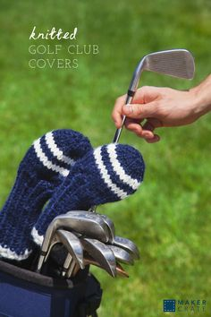 Knitted Golf Club Cover | I love these chunky knitted golf covers because they give a personal touch to any golf bag. I think that they make a perfect gift for any golf lover, and they are quick to knit up so you can make multiples. You can adjust the size of the cover by simply adding more rows of yarn where the pattern indicates. | Maker Crate