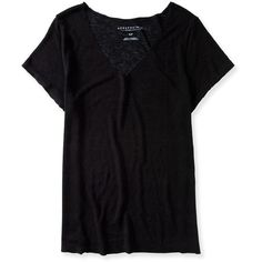 Aeropostale Oversized Slub-Knit V-Neck Tee ($7.99) ❤ liked on Polyvore featuring tops, t-shirts, shirts, 10. tops., black, over sized t shirt, knit t shirt, oversized shirt, tee-shirt and v neck tee
