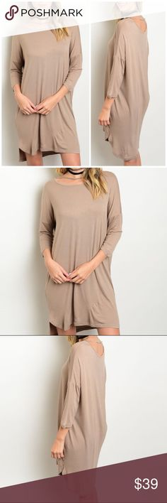 """🍁 Light Mocha Jersey Knit Dress Jersey knit dress with strap along neckline. Made of Rayon/ spandex blend. Can be worn as a tunic too!  Measurements for small Length : 34"""" Bust: 40"""". Bchic Dresses"""
