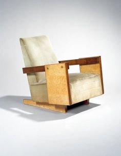 André Sornay; Ash Burl and Brass Lounge Chair, c1940.