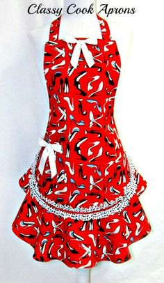 Unique Gift For The Cowgirl Cook or Western Theme Restaurant Rhinestone Red and Clear Cowgirl Black Cooking Apron with Two Charms