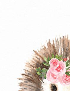 Woodland animal print - Hedgehog wall art - Blush pink floral crown - Forest wall art - Printable wa Baby Girl Nursery Decor, Woodland Nursery Decor, Nursery Wall Art, Watercolor Animals, Floral Watercolor, Pink Floral Crowns, Apple Watch Wallpaper, Flower Graphic, Animal Nursery