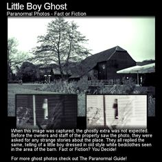 Little Boy Ghost. Whilst taking photos at Tewin Bury Farm in Hertfordshire, UK… Paranormal Stories, Paranormal Photos, Best Ghost Stories, Creepy Stories, Real Haunted Houses, Most Haunted, Ghost Pictures, Weird Pictures, Spooky Places