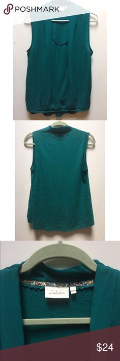 ☀️EUC Anthropologie Deletta Rivulet Draped Tank Deletta by Anthropologie Rivulet Draped Green/Aqua Layered Sleeveless Tank Top Blouse, in excellent used condition, size small Anthropologie Tops Blouses