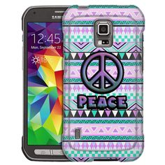 Samsung Galaxy S5 Active Peace on Aztec Andes Mauve Teal Slim Case