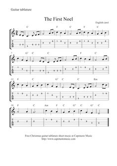 Free Sheet Music Scores: Guitar tab Christmas