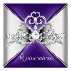 DealsQuinceanera 15 Tiara Purple Silver White Diamond Personalized InvitesIn our offer link above you will see