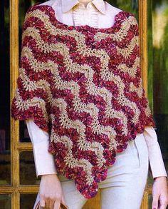 tejidos artesanales en crochet: Poncho bordo tejido en crochet
