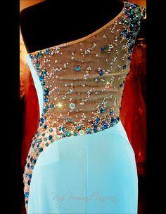 Aqua Beaded One Shoulder Jersey Prom Dress-Illusion Back and Waistline-High Slit-115BP097800399
