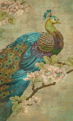 爱 Chinoiserie? 爱 home decor in chinoiserie style - Peacock Peacock Wall Art, Peacock Fabric, Peacock Painting, Peacock Decor, Peacock Colors, Peacock Blue, Peacock Feathers, Fleurs Art Nouveau, Motifs Art Nouveau