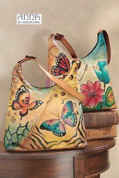 ANNA by Anuschka Handpainted Leather Hobo Handbag - Handbags & Belts - Fashion Accessories - As We Change Unique Handbags, Unique Purses, Beautiful Handbags, Cute Purses, Purses And Handbags, Hobo Purses, Hobo Bags, Painted Bags, Hand Painted Shoes