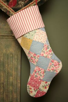 Sweet Antique Patchwork Quilt Heirloom Christmas Stocking with Ticking Cuff