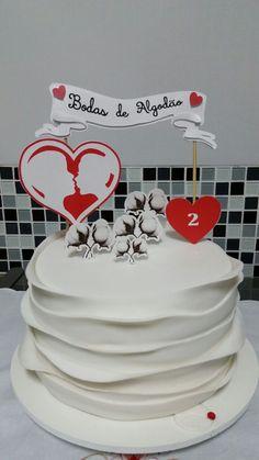 Topper do bolo- Bodas de Algodão produzido por Mônica Guedes