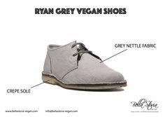 Ryan vegan shoes grey nettle fabric crepe sole