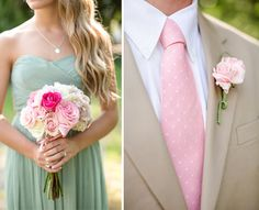 um love this!! :) pink/green for bridesmaids and groomsmen. Sorry boys, you might be wearing some pink on my big day! :P