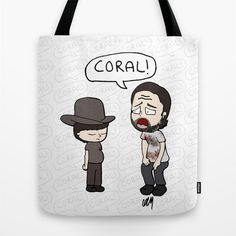 The Walking Dead, Rick Grimes, Coral, Stuff and Thangs, Walking Dead gift, Walking dead illustration, walking dead cartoon, Tote Bag