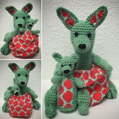 free Ravelry: Mama Kangaroo & Joey also includes crocheted pouch