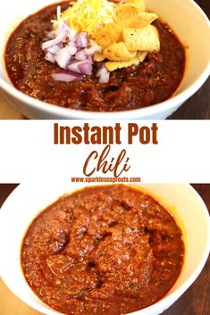 Instant Pot (KETO/LOW CARB) Chili is the perfect cold weather dinner.  It comes together in no time and it is sure to be a family favorite!  Check out the post for several options to make it perfect for your family and friends. . #chili #instantpot #dinner #recipe #beef #sparklesnsprouts