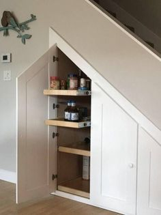 55 Genius Under Stairs Storage Ideas For Minimalist Home furniture Attic Renovation, Attic Remodel, Basement Renovations, Home Remodeling, Closet Remodel, Small Basement Remodel, Bedroom Remodeling, Basement House, Basement Bedrooms