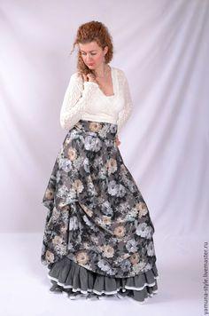 Купить Юбка бохо из легкого летнего материала (70% хлопок). - серый, цветочный, юбка