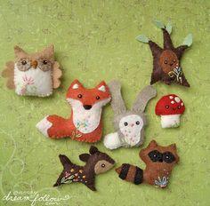 woodland creatures as xmas ornaments