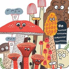 Coming soon at @drawnandquarterly ! I can't wait for Spring. #mushrooms #illustration