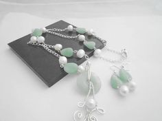 White Freshwater Pearl and Green Aventurine Necklace Set, Green and White Necklace and Earring Set, Green gemstone Jewelry, Gift for Her White Necklace, Necklace Set, Beaded Necklace, Handmade Necklaces, Handmade Jewelry, Jewelry Sets, Women Jewelry, White Gold Jewelry, Green Gemstones