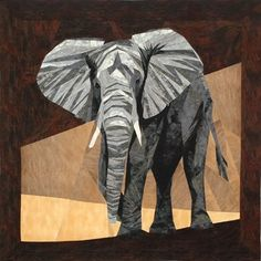 """Norman, the Enormous Elephant - A Foundation Paper Piecing Pattern - 30"""" x 30"""" Block - PaperPiecedQuilting.com"""