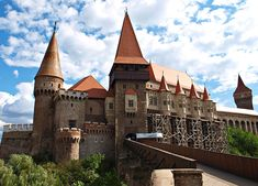 The Gothic-Renaissance Hunyad Castle in Transylvania (now Romania), built by King Charles I of Hungary