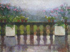 Terrace in the Rain in Marquayrol  Henri Martin