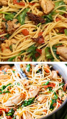 Spaghetti tossed in a fresh and flavorful sauce with pieces of juicy chicken is simply irresistible! This tomato chicken pasta has spinach to boost nutrients. One bite of this Tomato Spinach and Chicken Spaghetti and you will never buy jarred tomato sauce Chicken Spaghetti Recipes, Chicken Recipes, Spinach Pasta Recipes, Spinach Pizza, Healthy Chicken Pasta, Huhn Spaghetti, Spaghetti Spinach, Healthy Pastas, Healthy Recipes