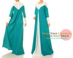 White & Teal Loose Fitting Long Sleeved Modest by Tailored2Modesty