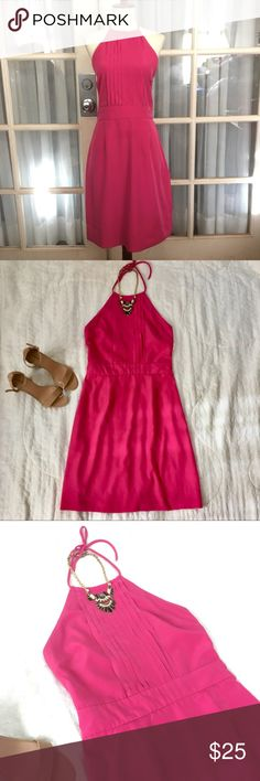 Pink Halter Dress In great condition Pink Halter Dress. Dress is by Banana Republic in size 2 xsmall. Features include halter style, front chest pleat like design, hot pink color, and backless. You will definitely receive compliments! Very flattering and great for date night or night out with the girls. Bundle deals and prices available.  Check my closet for great jewelry, Forever 22, Express, and other great items! Banana Republic Dresses Backless