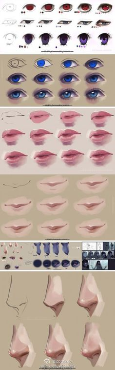 Digital art painting illustration tutorial for facial anatomy; Photoshop art; anatomy and digital painting // Painting individual facial features [ #COOLACG广播站# #插画绘画教程...@Azazel_龍采集到手绘(168图)_花瓣插画 ]