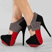 Fashionable Contrast Color Platform Ankle Boots