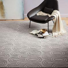 Radiating Ovals Wool Rug - Platinum Love the pattern !!