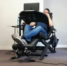 Gaming Desk Chair, Gaming Computer Desk, Computer Station, Gaming Setup, Reclining Office Chair, Work Chair, Dream Home Design, House Design, Standing Chair