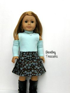 102a9f848b7f CLEARANCE 18 inch doll clothes made to fit like American Girl doll clothes AG  doll clothes mint green cold shoulder top and harper skirt