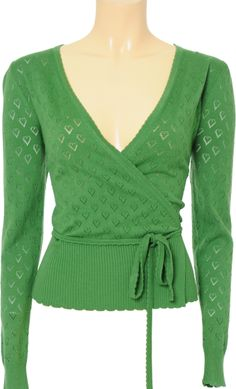 Vintage Inspired Autumn   ♡   Wrap Cardigan Heart Ajour Pattern - Jungle Green Long Sleeve   ♡   King Louie AW14