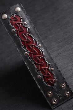 Crimson Dara Leather Cuff