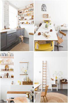 Skandináv hangulatú étkező fehér, sárga étkezőszékekkel