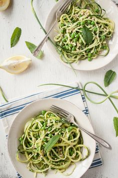 Garlic Scape Pesto and Zucchini Pasta with Peas and Mint