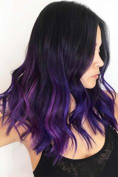 Trendy Hair Color : Dark purple hair: let us discuss the basics at first. This hair color is unnatur… Dark Purple Hair Color, Hair Color For Black Hair, Cool Hair Color, Purple Hues, Black And Purple Nails, Gorgeous Hair Color, Ombre Blond, Blonde Dye, Blonde Brunette