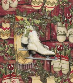 Holiday Inspirations Christmas Susan Winget Skates And Mittens Fabric