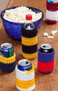 Crochet Can Cozies Free Crochet Pattern from Red Heart Yarns