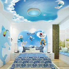 smurfs themed false ceiling design for kids bedroom interior
