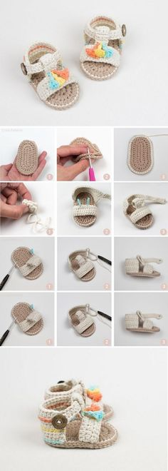 This is a super easy and fast step by step tutorial that will teach you how to crochet baby sandals. This is a super easy and fast step by step tutorial that will teach you how to crochet baby sandals.Crochet Baby Sandals - Mama In A Stitch Knit and Crochet Simple, Love Crochet, Crochet For Kids, Diy Crochet, Quick Crochet, Beautiful Crochet, Crochet Flowers, Baby Knitting Patterns, Baby Patterns