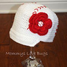 Baseball Crochet Brim Hat with Removable Flower Baseball Hair Clip - Newborn through 4T Sizing. $25.00, via Etsy.