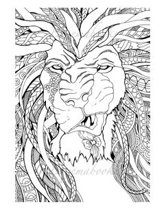 Great Lions Adult Coloring Books Digital Coloring Pages