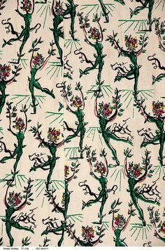 Detail of 'Flower Ballet' a textile designed by Salvador Dali, circa 1947, printed by Wesley Simpson on their 'Pebble Crêpe' rayon, giving this design a further surreal aspect